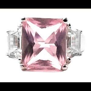 Landau pink Cz sterling silver ring